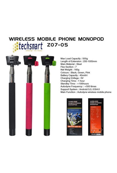 Techsmart Z07-5 Kablosuz Selfie Çubuğu – Bluetooth