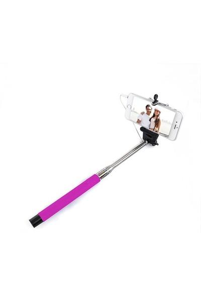 Codegen SSK-010P Kulaklık Girişi Bağlantılı Çekim Butonlu Pembe Selfie Çubuğu