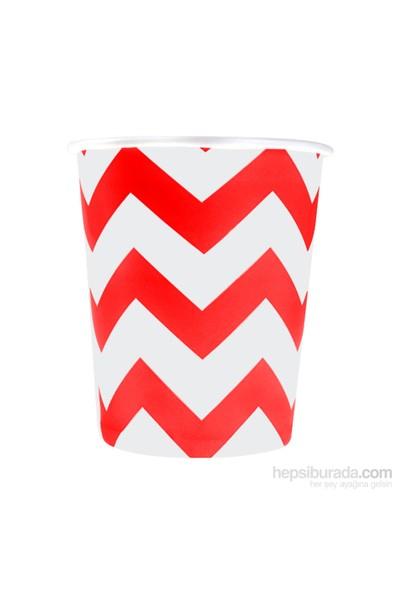 KullanAtMarket Kırmızı Zigzag Karton Bardak 8 Adet