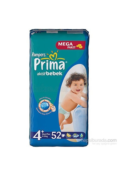 Prima Bebek Bezi Aktif Bebek Mega 2'li Paket 4+ Beden 208 Adet
