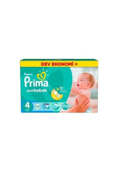 Prima Bebek Bezi Aktif Bebek Dev Ekonomi Plus 4 Beden 82 Adet