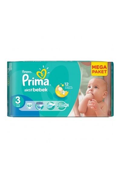 Prima Bebek Bezi Aktif Bebek Mega Paket 3 Beden 62 Adet