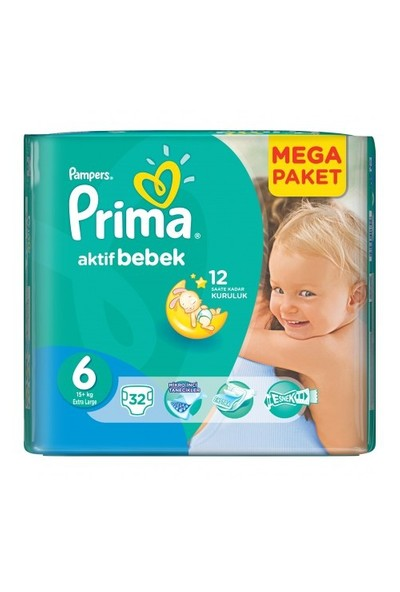 Prima Bebek Bezi Aktif Bebek Mega Paket 6 Beden 32 Adet