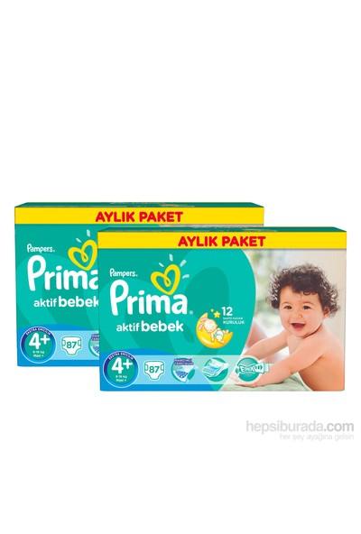 Prima Bebek Bezi Aktif Bebek Aylık 2'li Paket 4+ Beden 174 Adet