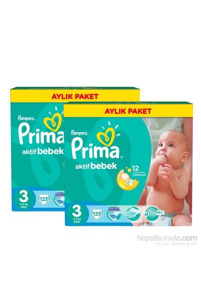 Prima Bebek Bezi Aktif Bebek Aylık 2'li Paket 3 Beden 246 Adet