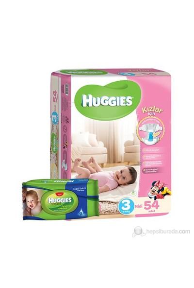 Huggies Kızım İçin Bebek Bezi Jumbo 3 Beden 54 Adet + 1 Adet Islak Mendil Hediye