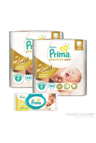 Prima Bebek Bezi Premium Care Jumbo 2 'li Paket 2 Beden 176 Adet (Islak Havlu Hediyeli)