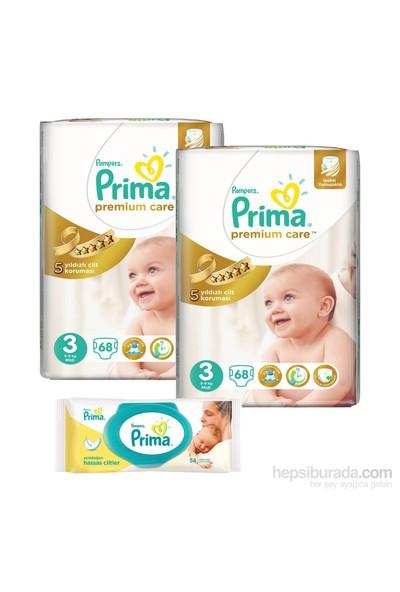 Prima Bebek Bezi Premium Care Jumbo 2 'li Paket 3 Beden 136 Adet (Islak Havlu Hediyeli)