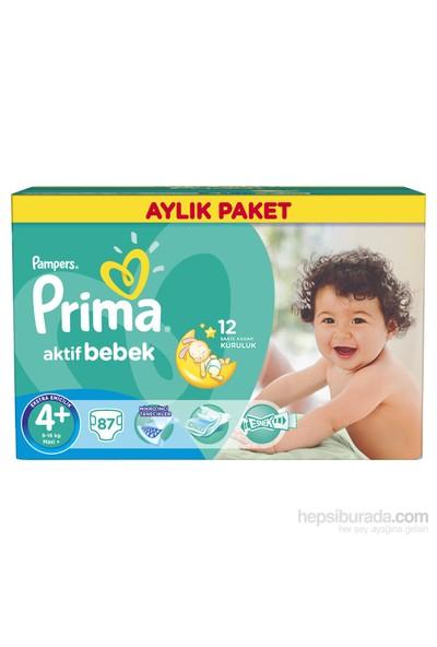 Prima Bebek Bezi Aktif Bebek Aylık Paket 4+ Beden 87 Adet