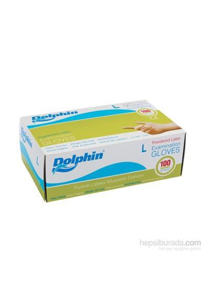 Dolphin Beyaz Lateks Eldiven Pudralı (L) 100 lü Paket