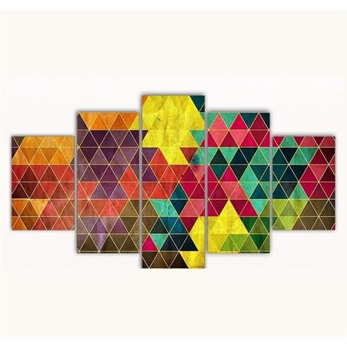 Tictac 5 Parça Kanvas Tablo - Üçgenler - 100X60 Cm