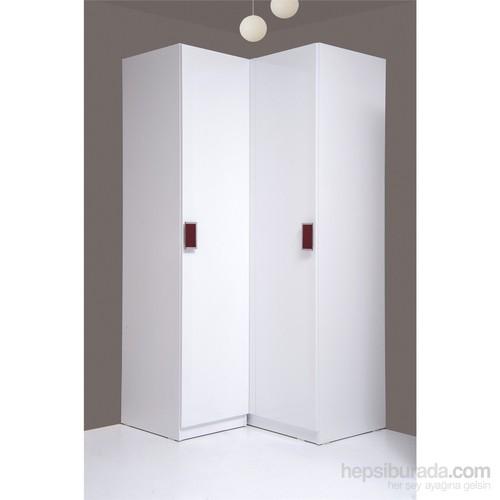 Kenyap Stella Askılıklı&Raflı İki Kapılı Köşe Sonsuz Gardırop Parlak Beyaz