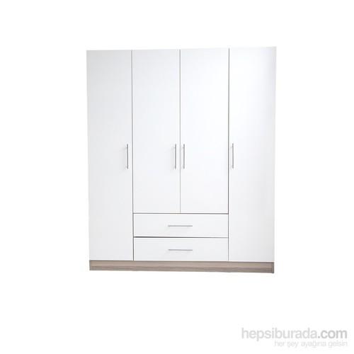 Kocaçelik 4 Kapılı 2 Çekmeceli Gardırop Cordoba Beyaz