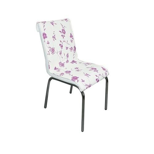 Mavi Mobilya Sandalye Lila Çiçek Suni Deri (4 Adet)