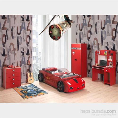 Arabalı Yatak - 3D Hızlı Yavrusuz Genç Odası - Kırmızı
