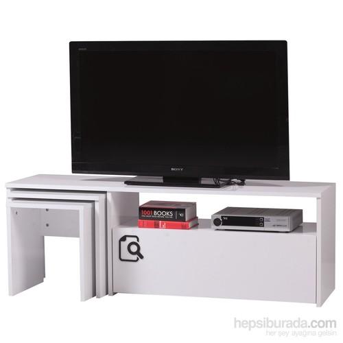 Carla Home Search Zigonlu Beyaz Tv Sehpası