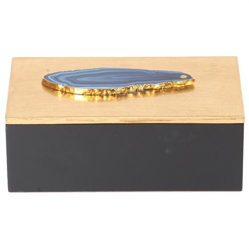 Altıncı Cadde Mavi Taşlı Ahşap Dekoratif Kutu S 18X10x6 Cm