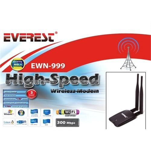 Everest Ewn-999 300 Mbps Yüksek Hız Çift Anten Kablosuz Adaptör