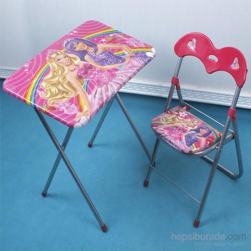 Ellnaz Ders Çalışma Masası Barbi Desenli