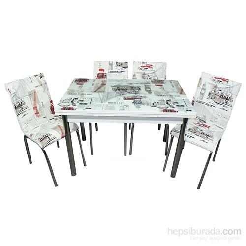 Mutfak Cam Masa Takımı Yandan Açılır Dünya Desen (6 Sandalyeli)