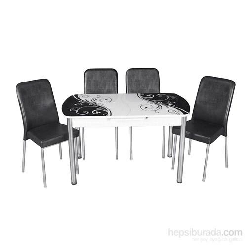 Mutfak Cam Masa Takımı Otomatik Açılır Siyah Yaprak Desen (4 Suni Deri Sandalyeli)