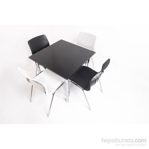 Mavi Mobilya Plastik Masa Takımı Prst024 4 Plastik Sandalyeli Siyah Beyaz