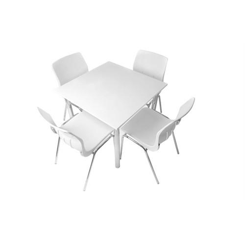 Mavi Mobilya Plastik Masa Takımı Prst027 4 Plastik Sandalyeli Beyaz