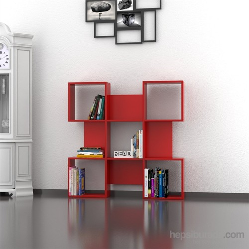 Decortie Quat Kitaplık Kırmızı