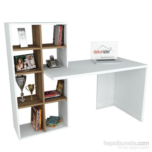Dekorister Win Çalışma Masası Beyaz/Ceviz