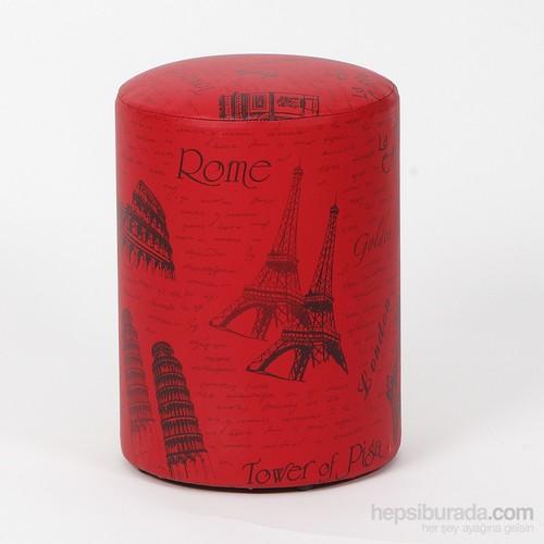 Ellnaz Şehir Desenli Kırmızı Yuvarlak Puf