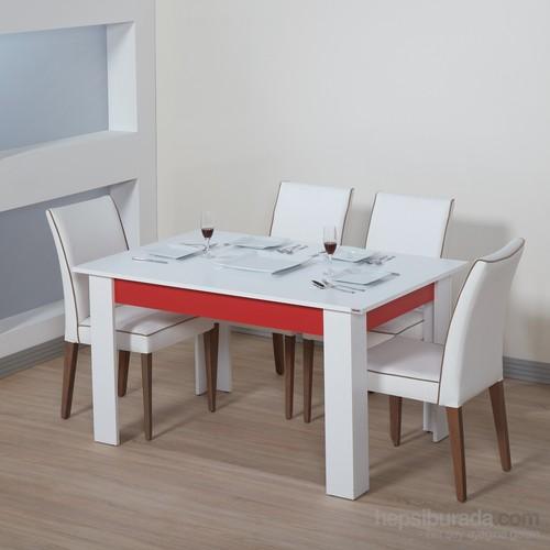 Dessenti Merzuka Yemek Masası Beyaz-Kırmızı