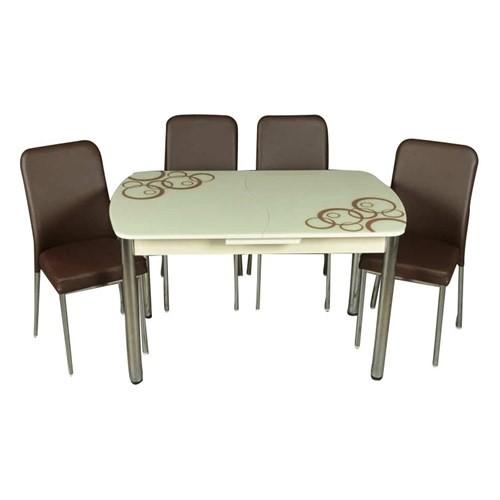 Mavi Mobilya Mutfak Cam Masa Takımı Otomatik Açılır Kahve Halka Desen (6 Suni Deri Sandalyeli)