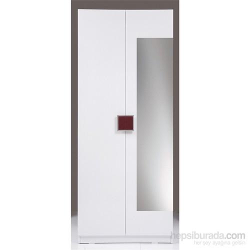Kenyap Plus 814700 Stella AYNALI Üç Çekmeceli İki Kapılı Sonsuz Gardırop-Parlak Beyaz