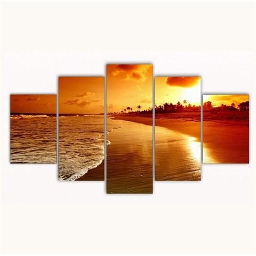 Tictac 5 Parça Kanvas Tablo - Gün Batımı - 125X75 Cm