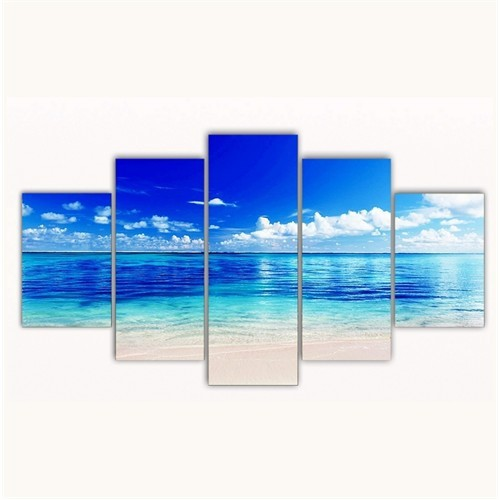 Tictac 5 Parça Kanvas Tablo - Okyanus - 100X60 Cm