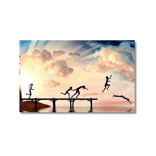 Tictac İskelede Çocuklar Kanvas Tablo - 40X60 Cm