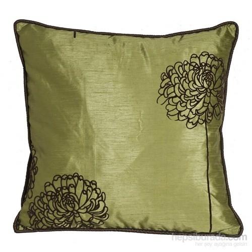 Yastıkminder Tafta Yeşil Flok Baskılı Kahve Çiçekli Dekoratif Yastık