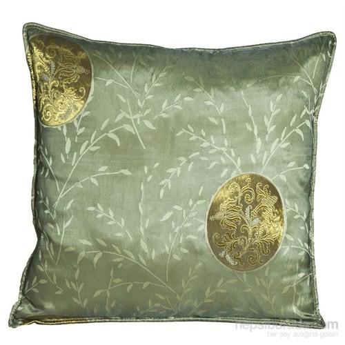 Yastıkminder Tafta Yeşil Varak Madalyon Desen Yastık