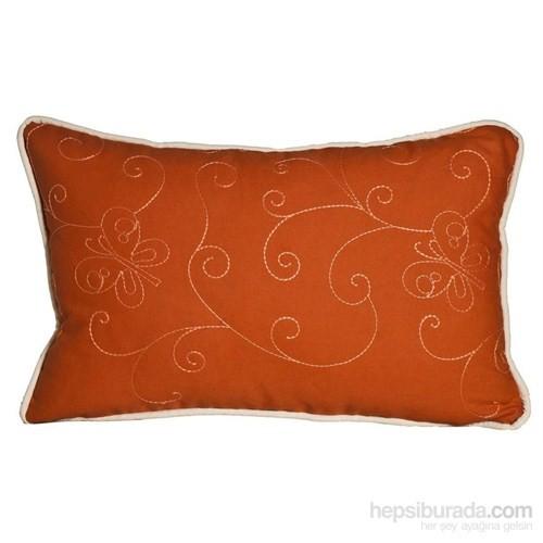Yastıkminder Koton Oranj Nakışlı Dikdörtgen Yastık