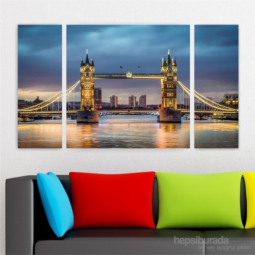 Dekoriza İngiltere Londra 3 Parçalı Kanvas Tablo 122X70cm