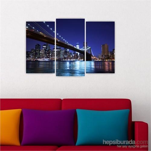Dekoriza Amerika Brooklyn Köprüsü 3 Parçalı Kanvas Tablo 80X50cm