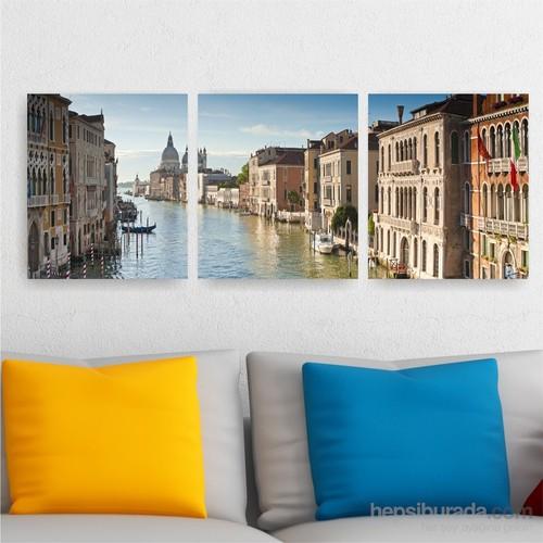 Dekoriza İtalya Venedik 3 Parçalı Kanvas Tablo 125X40cm