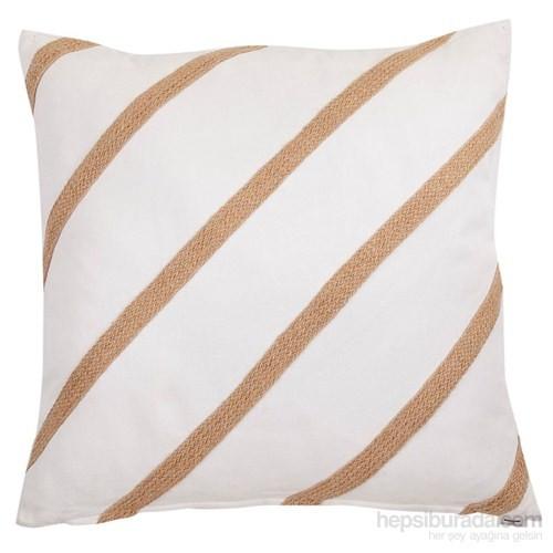 Yastıkminder Koton Beyaz Jüt Kordon Düz Yastık