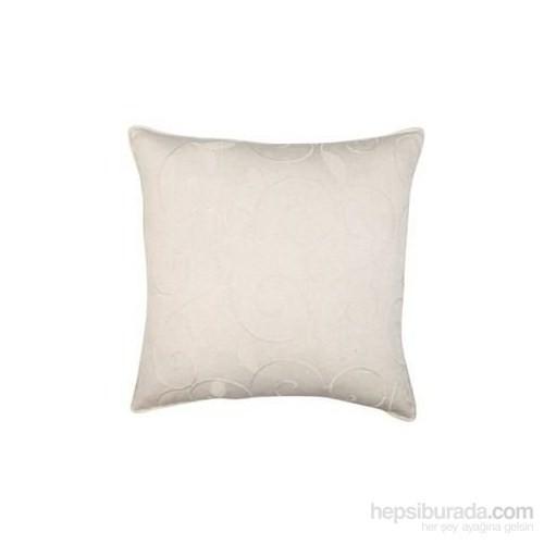 Yastıkminder Koton Kemik Renkli Yaprak Nakışlı Yastık