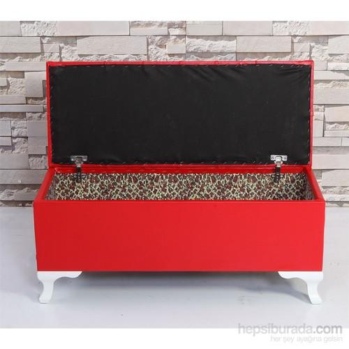 Remaks Sandıklı Puf 100 Cm Kapitone - Kırmızı