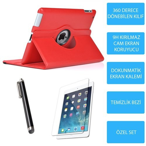 Mobile World iPad Mini 2 Kırmızı Kılıflı 3 Parça Aksesuar Seti Aksesuar Seti