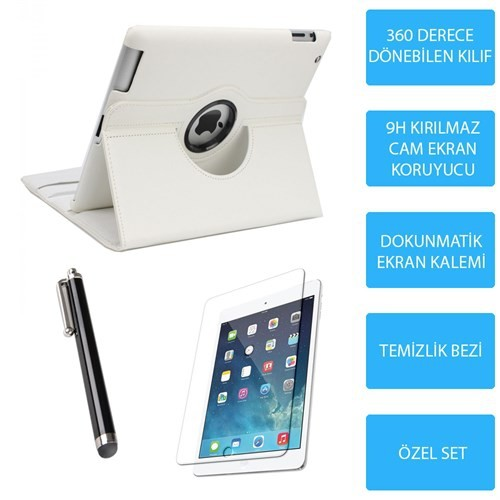 Mobile World iPad Mini Beyaz Kılıflı 3 Parça Aksesuar Seti