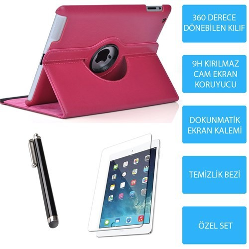 Mobile World iPad 3 Pembe Kılıflı 3 Parça Aksesuar Seti