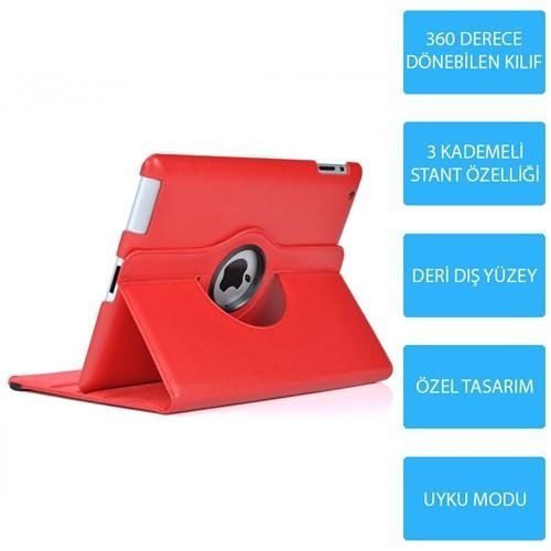 Mobile World iPad Mini 3 360 Derece Dönebilen Kırmızı Tablet Kılıfı