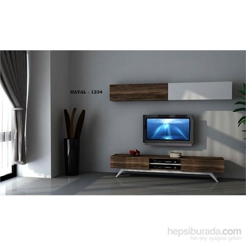 Hayal 1234 Tv Ünitesi Leon Ceviz/Parlak Beyaz